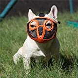 JYHY Short Snout Dog Muzzles- Adjustable Breathable Mesh Bulldog Muzzle for Biting Chewing Barking Training Dog Mask,Orange (Eyehole) S