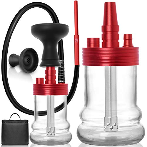 ADMY Mini Shisha Set, Klein Hookah Komplett Alu, Shisha Reise Paket To Go| Wasserpfeife Silikonschlauch mit Mundstück | Glas Bowl | Silikonkopf | Zange |Tauchrohr Diffusor |Travel Bag | Rot