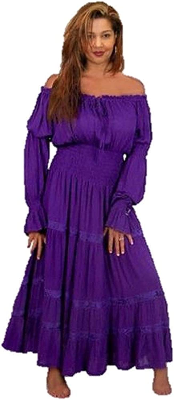 Miaohao Ruffle Sleeve Mexican Peasant Gypsy Dress With Skirt Trim G740