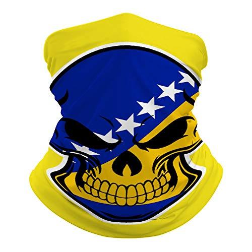 Bosnian Flag Skull Neck Gaiter Mask Cooling Summer Face Cover Scarf Protection Breathable Bandana Seamless Balaclavas Headband for Men Women