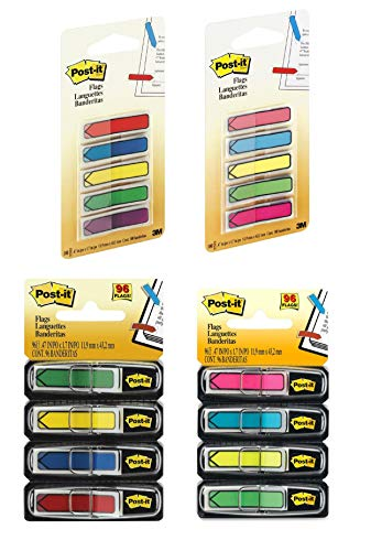 Post-it Arrow Flags, Assorted Primary Colors.47 in. Wide,684-ARR1/1pck, 684-ARR2/1pck, 684-ARR3/1pck, 684-ARR4/1pck (Primary/Bright Colors, 392-Flags Bundle)