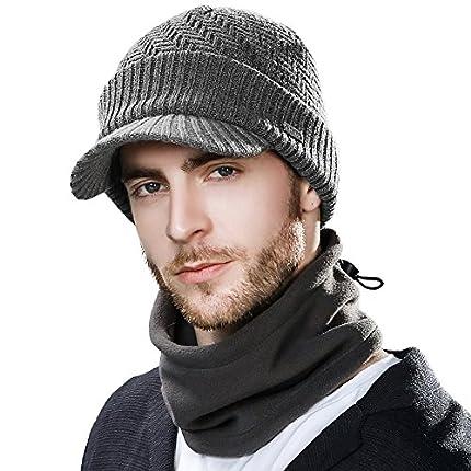 Siggi - Comhats - Conjunto de gorro y bufanda, gorro de punto con visera, de lana, para el invierno, bufanda, de forro polar, braga de cuello, para hombres Gris 69311_Gris L