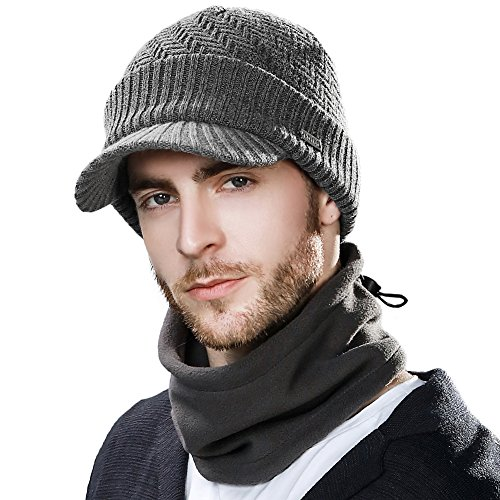 Comhats Unisex warme Wolle gestrickte Beanie Mütze mit Schirm Dicke Strickmütze Schal Grau L