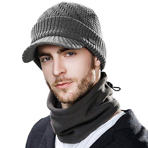 SIGGI Unisex warme wol gebreide beanie muts met scherm gebreide muts sjaal heren