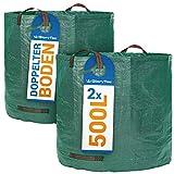 Glorytec - Sacco da giardino 2 x 500 l con doppio fondo – 4 manici antistrappo – sacchi per rifiuti da giardino in tessuto di polipropilene estremamente robusto (PP) 150 g/m²