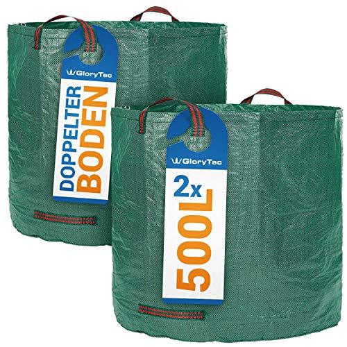 2 Sacos de jardín de GloryTec de 500 Litros cada uno - Set Premium de bolsas de jardín - Bolsas estables para los residuos del jardín XXL, sacos para el follaje del jardín auto estables y plegables