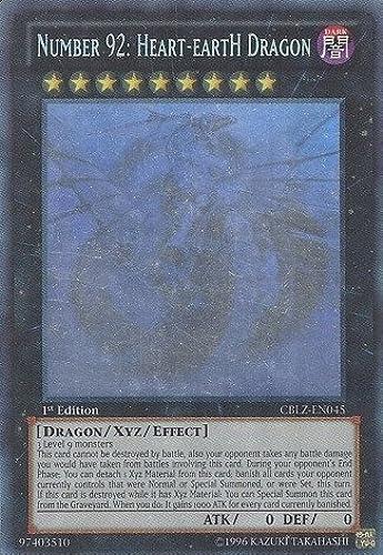 Yu-Gi-Oh  - Number 92  Heart-eartH Dragon (CBLZ-EN045) - Cosmo Blazer - Unlimited Edition - Ghost Rare by Yu-Gi-Oh