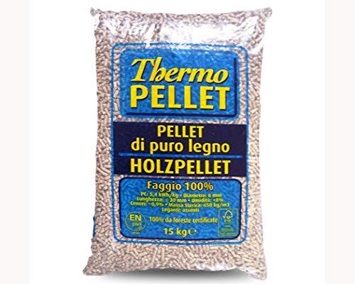 PELLET FAGGIO 100% SACCO KG.15 THERMO PELLET IDEALE PER STUFE E CALDAIE CERTIFICATO A2