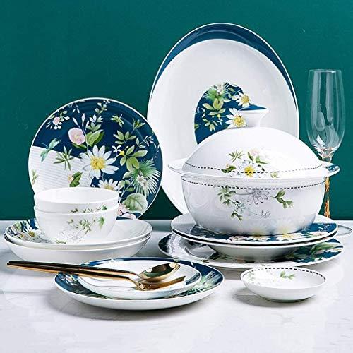 Shengluu Platos Llanos Juegos de vajilla Juego de vajilla combinada con Estampado Floral Simple de 46 Piezas: para Regalar, vajilla para Banquetes