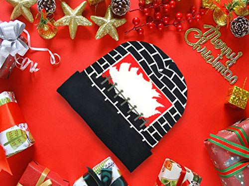 POPCHOSE Unisex LED Knit Beanie Light Up Fireplace Winter Hat Elastic Cap for Holiday Christmas Birthday Party Beanies