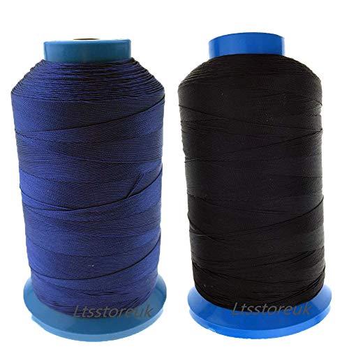 Ltsstoreuk - Hilo de coser de nailon para tapicería, cortinas, cuentas, equipaje, bolsos, cuero, 1500 yardas, tamaño T70#69, 2 unidades, para máquina de coser color negro y azul