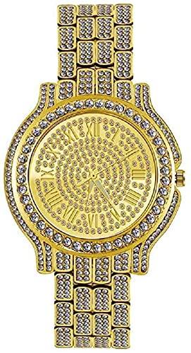 JZDH Mano Reloj Reloj de Pulsera Moda Bling Watch Womens Acero Inoxidable Cuarzo Reloj de Pulsera Damas Luxury Gold Relojes Rhinestone Reloj Mujer Relojes Decorativos Casuales (Color : Gold)