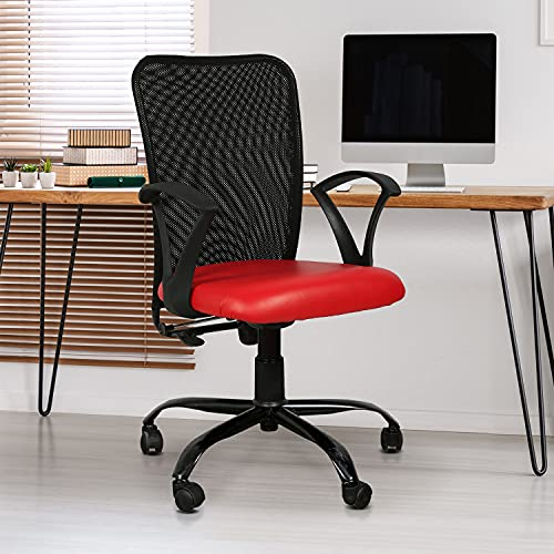 TIMBER CHEESE Ergonomic MESH Chair with Upgraded Metal Base, Make in India Concept with Height Adjustment (Standard, Red)