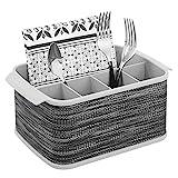mDesign Cubertero con asas – Decorativo cesto portacubiertos para cocina, comedor, jardín o para ir de picnic – Bandeja para cubiertos con 5 compartimentos – gris
