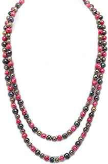 JYX Pearl Long Strand Necklace 6mm Off-Round Multi-Color Freshwater Cultured Pearl Necklace Sweater Necklace 45