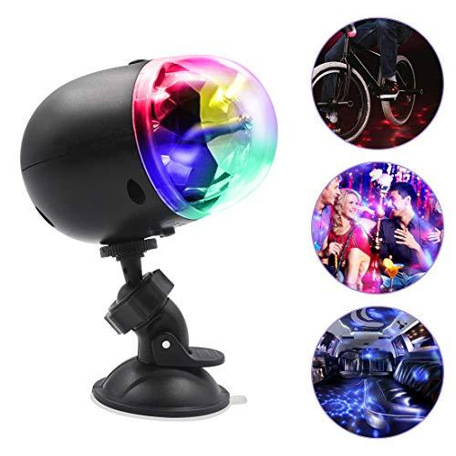 Disco Licht - Euproce Wiederaufladbare USB Mini Party Leuchte mit Saugnapfhalterung und Fahrradhalterung, 360° Drehbare Disco Ballleuchten für Home Outdoor Geburtstagsfeier