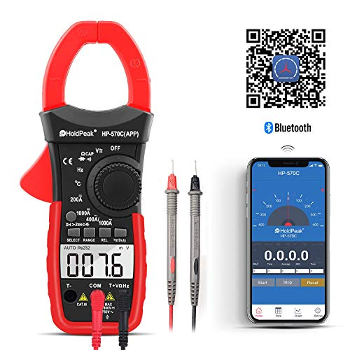 Digital Clamp Meter 570CAPP 4000 Counts Auto-ranging AC DC Volt Current Multimeter for Accurate Measure Voltage,Amp,Resistance,Capacitance,Temperature,Continuity with APP via Bluetooth