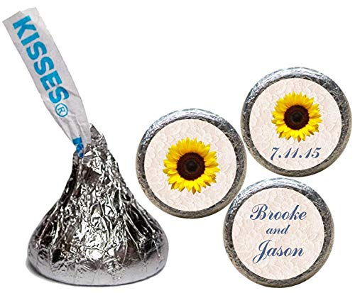 Sunflower Wedding Stickers for the bottom of chocolate Kisses (set of 108)(RLaceSunflwr)