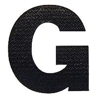 アルファベットワッペン 7cm ブラック G(ジー)