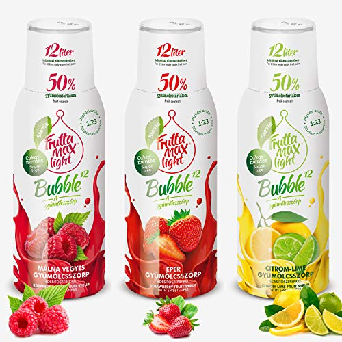 Light Low-Carb Fitness-Sirup Himbeere-Erdbeere-Zitrone-Lime Frutta Max light | Ohne-Zucker | mit Stevia | 50% Fruchtanteil 3erPack(3x500ml)