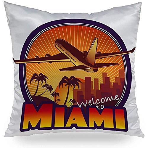 QDAS Reizen Miami Gooi Kussens Decortatieve Kussensloop Satijn Vierkant Kussen Cover Home Decor Voor Slaapbank Bed