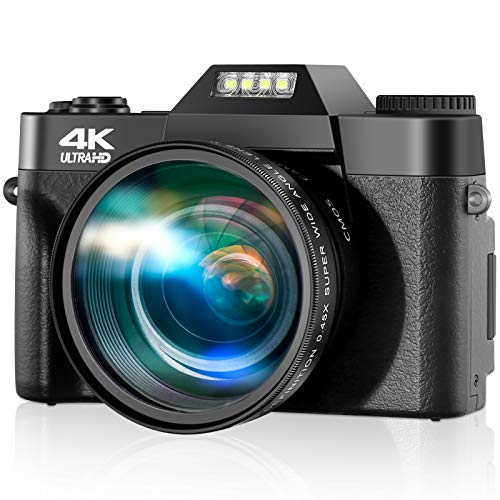 "4K Digital Camera, 30fps Ultra HD Vlogging Camera, 48 Megapixel Video Camera for YouTube with 16X Zoom & Auto Focus, 3.0"" LCD Flip Screen, 52mm Wide-Angle Lens, 32GB SD Card"