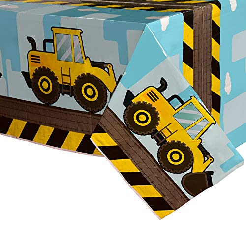 WERNNSAI Kipper Tischdecken - 2 Packung 137 x 274 cm Konstruktion Wegwerf Gedruckt Kunststoff Tischtuch, Partyzubehör für Kinder Jungs Geburtstag Hochzeit Deko, für Rechtecktisch