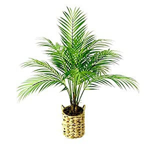 Silk Flower Arrangements Fake Plants Artificial Palm Tree Faux Plants Décor Indoor Outdoor in Woven Planter 28 inches Tall 1 Pack