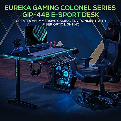 EUREKA ERGONOMIC Gaming-Computer-Schreibtisch – Colonel Serie, Home Office, Gaming-PC-Tisch, neues Polygon-Bein-Design, mit RGB-LED-Lichtern, 111,8 cm und 139,7 cm, Schwarz 3