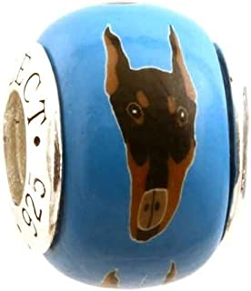 Doberman Pinscher Dog/Puppy Charm for Add-A-Bead Bracelets Clay & Sterling Silver by MAYselect