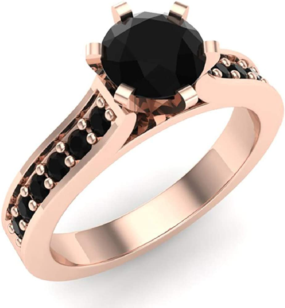 6 Prong set Black Diamond Spring new work one after another Engagement Ring 4 Car Accented Shank 3 Many popular brands