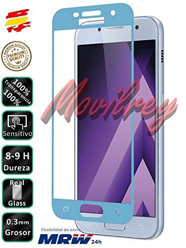 Movilrey Protector para Samsung Galaxy A3 2017 Azul Completo 3D Cristal Templado...