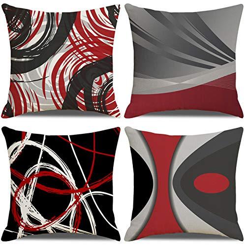 LAXEUYO 4er Set Kissenbezug 45x45 cm, Abstrakte rote Streifen Kissenhülle Dekorative Baumwolle Leinen Dekokissen mit Verstecktem Reißverschluss Sofa Schlafzimmer Auto