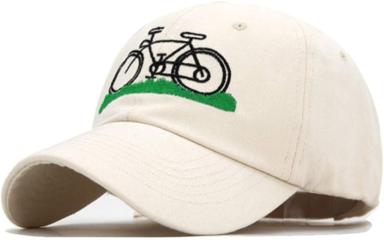 Outdoor Sports hat Baseball Cap Cotton Men Baseball Cap Women Caps Hats for Men Embroidery Bicycle Cartoon Bone Dad Hat GrljdHat (color   Beige White, Size   5561CM)