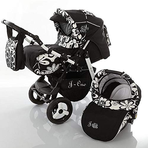 3 in 1 Combi kinderwagen Kinderwagen Complete Set met autostoel Isofix J-One van ChillyKids 3in1 with car seat black & flowers