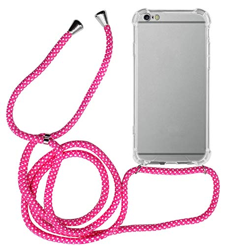 MyGadget Handykette für Apple iPhone 6 Plus / 6s Plus TPU Hülle mit Handyband zum Umhängen - Handyhülle mit Band Halskette Kordel Schnur Case Schutzhülle - Pink Weiß