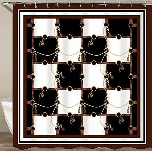 FOURFOOL Cortinas de Ducha,Tablero de ajedrez en Blanco y Negro con Cadena y Trenza,Impermeable Cortinas Baño y Lavables Cortinas Bañera 180x180CM