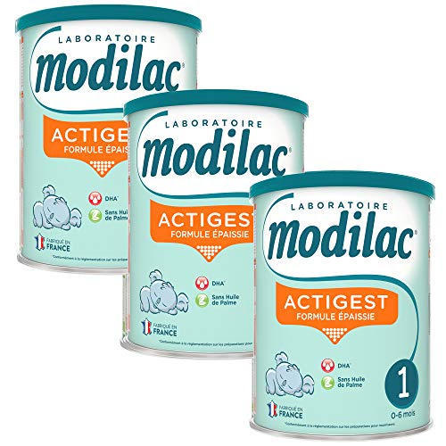 Laboratoire Modilac - Lait Infantile en Poudre Formule Epaissie Actigest 1er âge - 0-6 mois - 800g - Lot de 3