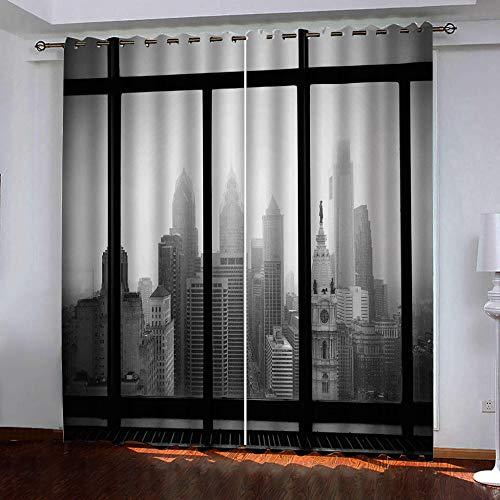 Gordijnen ondoorzichtig 3D vensterbank-landschap verduisteringsgordijn oogjes gordijnen gordijn polyester ondoorzichtig koude- en warmte-isolatie gordijnen slaapkamer set van 2 B75cm x H166cm x 2