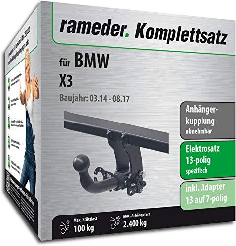 Rameder Komplettsatz, Anhängerkupplung abnehmbar + 13pol Elektrik für BMW X3 (122137-08763-2)