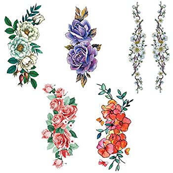 5 Sheets different 3D women s temporary fake tattoo stickers flowers suitable for adult children s body sexy fake stickers girl s chest hand shoulder or back art party decoration
