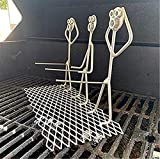 JOOLEE Parrilla de acero Hot Dog/Marshmallow, para hombres y mujeres, con forma de fogata, divertido palo de metal, reutilizable, tenedores de barbacoa para hoguera (3 guías de perritos calientes)