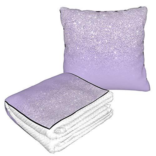 Manta de almohada de terciopelo suave, 2 en 1 con bolsa suave, elegante color morado lavanda con purpurina degradado, funda de almohada para casa, avión, coche, viajes, películas