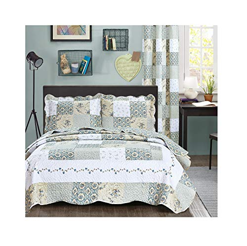 All American Collection New Reversible 3pc Floral Printed Patchwork Blue/Green Bedspread/Quilt Set Matching Curtains Available (Full/Queen Size)