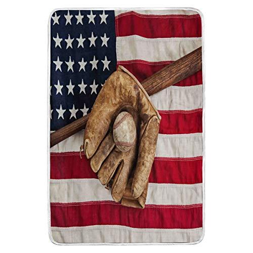 Manta para cama de béisbol con diseño de bandera estadounidense, manta de felpa súper suave, cálida, con forma de guante, forro polar, manta grande para sofá, sofá ligero, viajes, camping, 152 x 229 cm, para niños y mujeres en el hogar