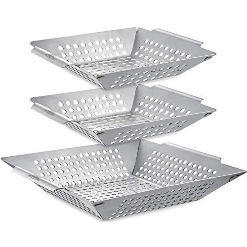 3er-Pack Grillkorb-Set - Grillkörbe für Outdoor-Grill, Heavy Duty grillschale edelstahl grill gemüseschale , grillpfanne für Veggie & Kabob, grillschalen für gasgrill & Smoker