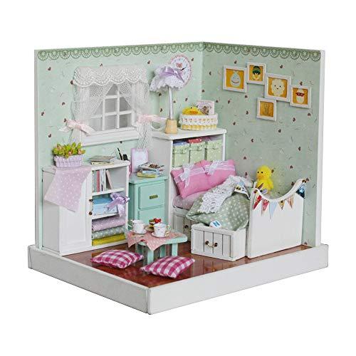 LQKYWNA DIY Dollhouse Miniature Kit 3D Green Cute Bedroom Handcraft Creative Mini Doll Toy Furniture Best Gifts for Kids Girls Boys