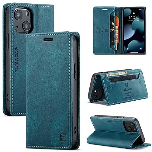 uslion Funda para iPhone 13 Mini RFID, funda protectora para teléfono móvil, tarjetero, billetera, cierre magnético, funda de piel para iPhone 13 Mini, color azul