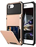 Vofolen Case for iPhone 8 6s 6 7 Case Wallet Credit Card Holder ID Slot Pocket Scratch Resistant Dual Layer Protective Bumper Rugged TPU Rubber Armor Hard Shell Cover for iPhone 6 6s 7 8 (Rose Gold)