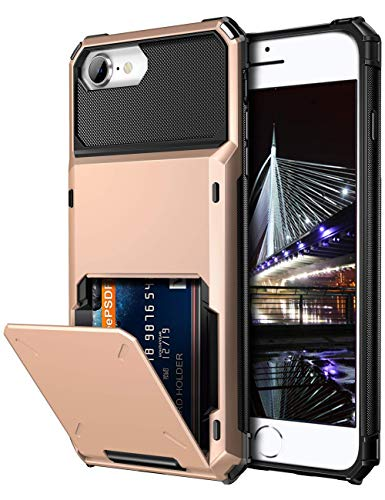 Vofolen Case for iPhone 6s 6 7 8 SE2 Case Wallet Credit Card Holder ID Slot Pocket Scratch Resistant Dual Layer Protective Bumper Rubber Armor Hard Shell Cover for iPhone 6 6s 7 8 SE 2020 (Rose Gold)